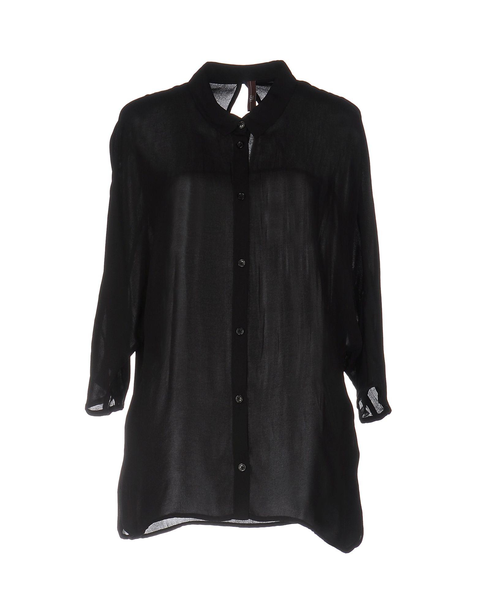 《送料無料》HIGH TECH レディース シャツ ブラック 44 ポリエステル 100%