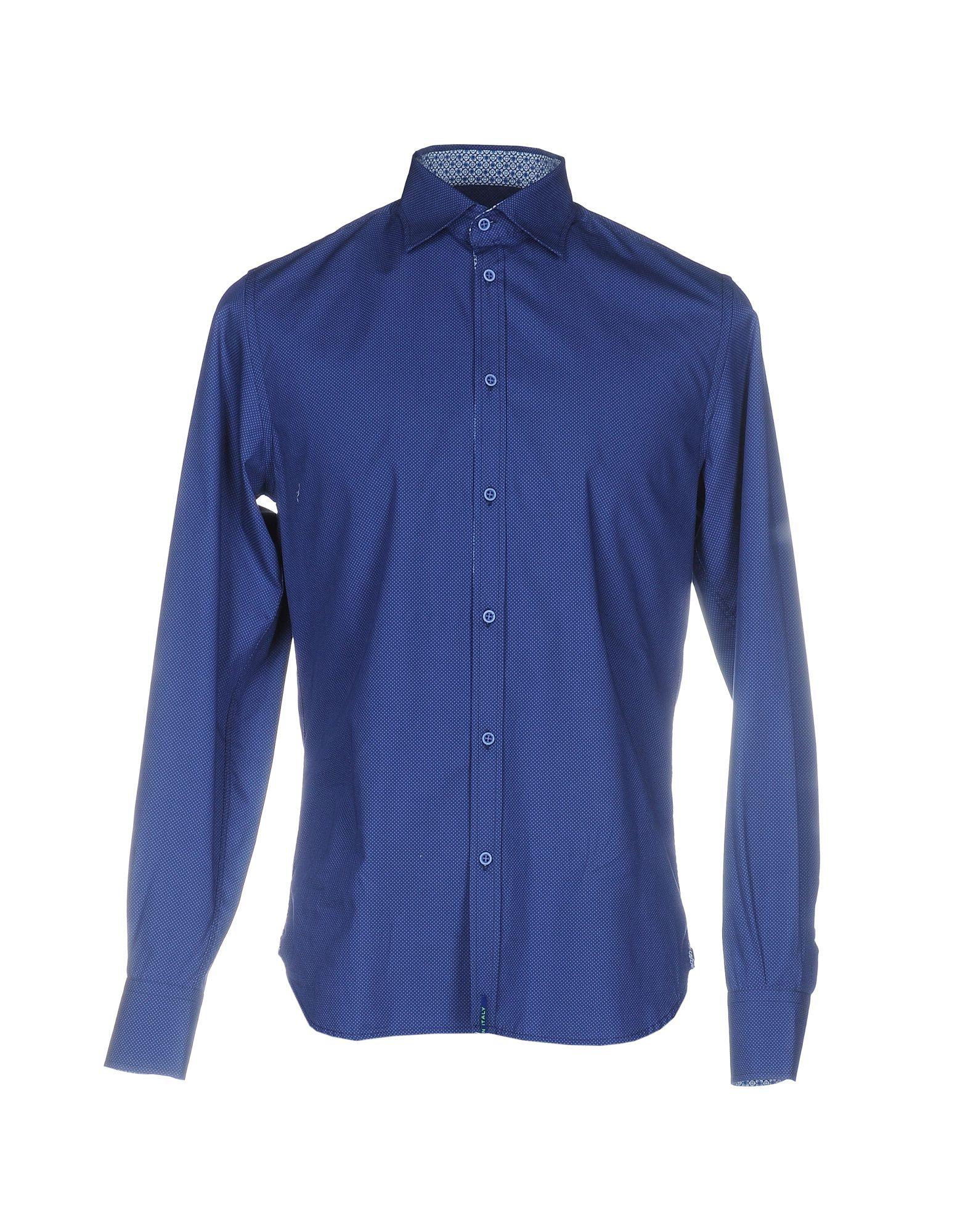 《期間限定 セール開催中》DIMATTIA メンズ シャツ ブルー 40 コットン 100%