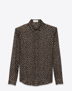 SAINT LAURENT Classic Shirts D classic polka dot shirt in black and gold plumetis f