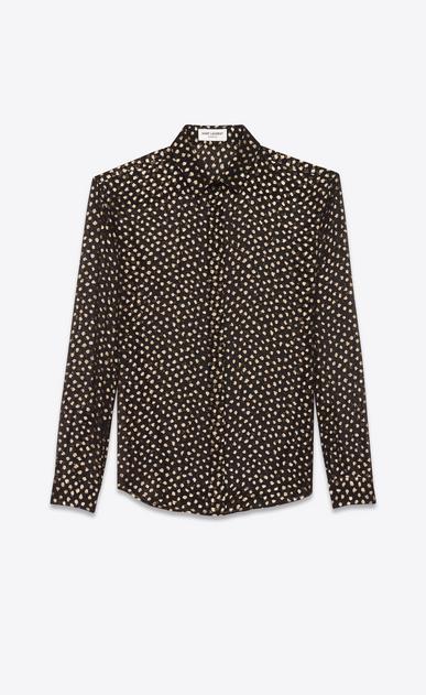 SAINT LAURENT Camicie Classiche D camicia classic polka dot nera e color oro in plumetis v4