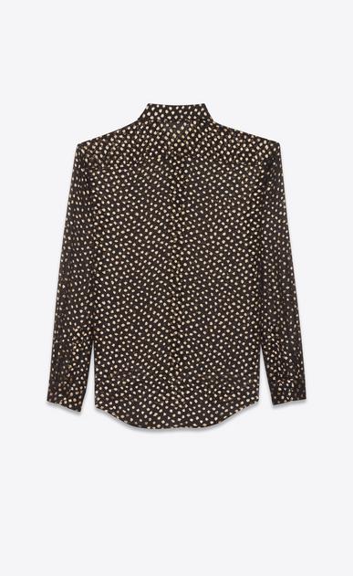 SAINT LAURENT Classic Shirts D classic polka dot shirt in black and gold plumetis b_V4