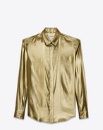 SAINT LAURENT Classic Shirts D classic shirt in gold lamé silk f