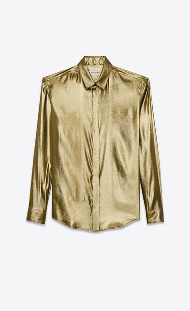 SAINT LAURENT Classic Shirts D classic shirt in gold lamé silk a_V4