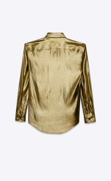 SAINT LAURENT Classic Shirts D classic shirt in gold lamé silk b_V4