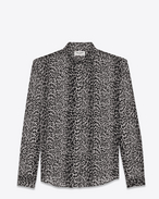 SAINT LAURENT Classic Shirts D classic petite leopard print shirt in black and grey silk crêpe f