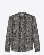 SAINT LAURENT Camicie Classiche D Classic Black and Grey Petite Leopard Print Shirt f