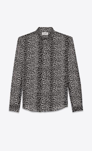 SAINT LAURENT Classic Shirts D classic petite leopard print shirt in black and grey silk crêpe a_V4