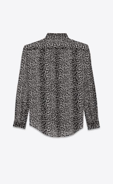 SAINT LAURENT Classic Shirts D classic petite leopard print shirt in black and grey silk crêpe b_V4