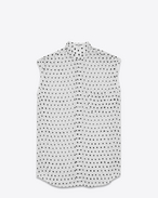 White and Black Lipstick Dot Band Collar Sleeveless Shirt