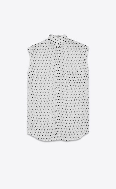 SAINT LAURENT Classic Shirts D lipstick dot band collar sleeveless shirt in white and black silk georgette a_V4