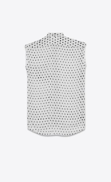 SAINT LAURENT Classic Shirts D lipstick dot band collar sleeveless shirt in white and black silk georgette b_V4