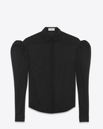 Black Drop Puff Sleeve Shirt