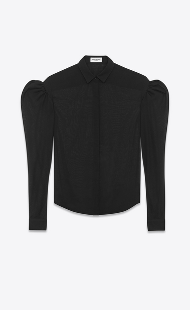 SAINT LAURENT Classic Shirts D drop puff sleeve shirt in black virgin wool v4
