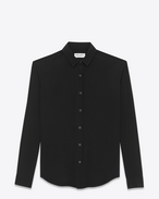 classic snap front shirt in black silk crepe