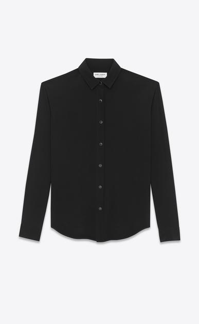 SAINT LAURENT Classic Shirts D classic snap front shirt in black silk crepe a_V4