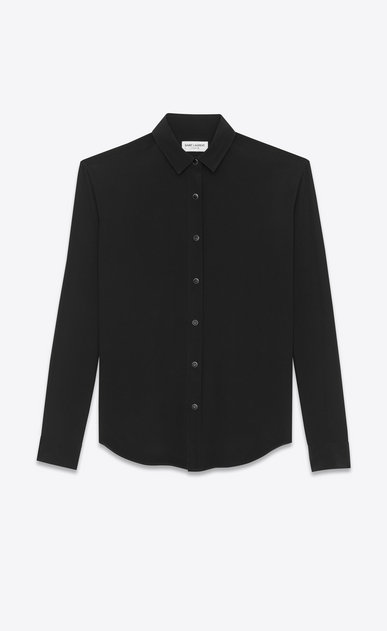 SAINT LAURENT Classic Shirts D classic snap front shirt in black silk crepe v4