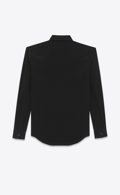 SAINT LAURENT Classic Shirts D classic snap front shirt in black silk crepe b_V4