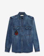 SAINT LAURENT Denim shirts D ysl military patch denim shirt in medium vintage blue denim f