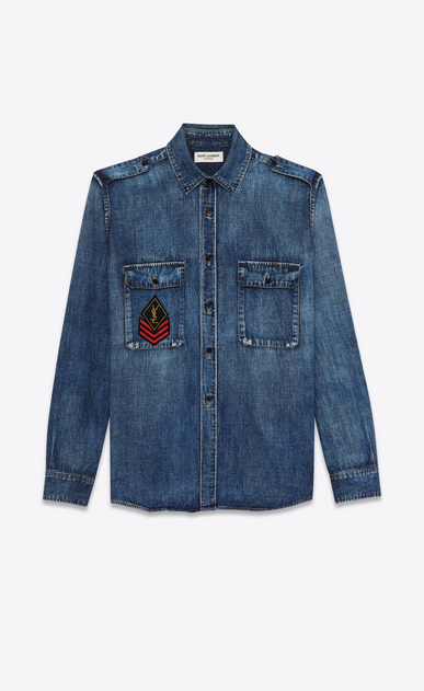 SAINT LAURENT Denim shirts D ysl military patch denim shirt in medium vintage blue denim a_V4