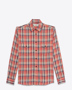 SAINT LAURENT Classic Shirts D rinse plaid oversized shirt in pink cotton f