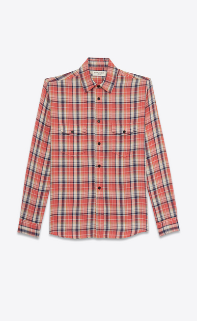 SAINT LAURENT Denim shirts D rinse plaid oversized shirt in pink cotton a_V4