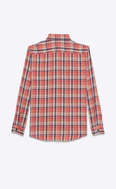 SAINT LAURENT Denim shirts D rinse plaid oversized shirt in pink cotton b_V4