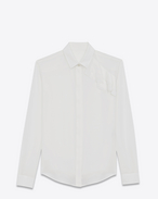 SAINT LAURENT Classic Shirts D classic shirt with ruffles in shell silk crepe f