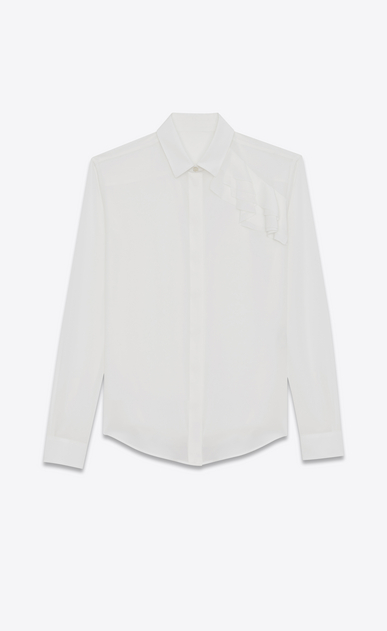 SAINT LAURENT Camicie Classiche Donna camicia classic con ruches color conchiglia in crepe di seta a_V4