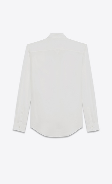SAINT LAURENT Camicie Classiche Donna camicia classic con ruches color conchiglia in crepe di seta b_V4