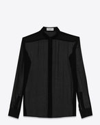 SAINT LAURENT Classic Shirts D signature yves collar shirt in black silk muslin f