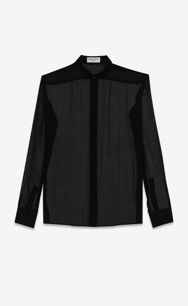 SAINT LAURENT Classic Shirts D signature yves collar shirt in black silk muslin a_V4