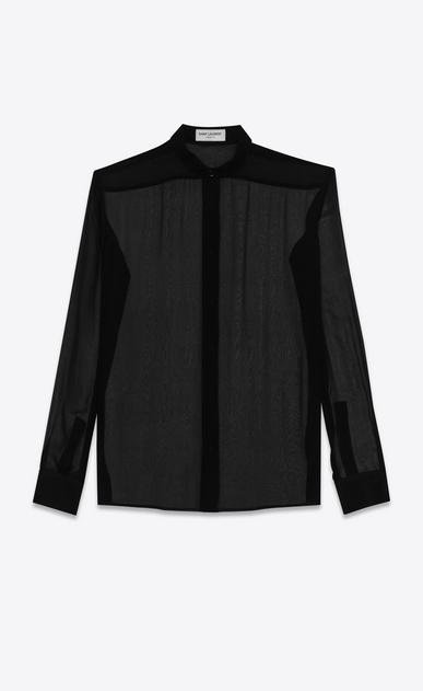 SAINT LAURENT Chemises classiques D chemise à col yves en mousseline de soie noire a_V4
