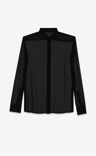 SAINT LAURENT Classic Shirts D signature yves collar shirt in black silk muslin b_V4