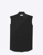 SAINT LAURENT Classic Shirts D signature yves collar sleeveless shirt in black dots silk f