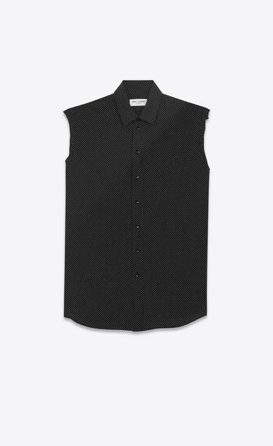 SAINT LAURENT Classic Shirts D signature yves collar sleeveless shirt in black dots silk a_V4