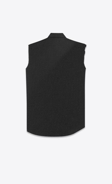 SAINT LAURENT Classic Shirts D signature yves collar sleeveless shirt in black dots silk b_V4