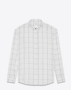 SAINT LAURENT Casual Shirts U oversized plaid point collar shirt in stonewashed white and black cotton f
