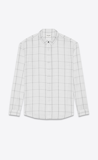 SAINT LAURENT Casual Shirts U oversized plaid point collar shirt in stonewashed white and black cotton a_V4