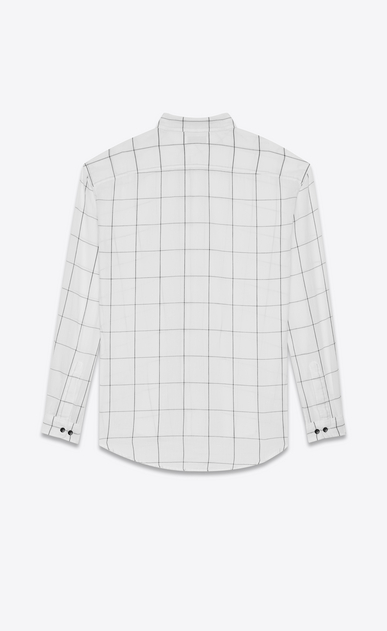 SAINT LAURENT Casual Shirts U oversized plaid point collar shirt in stonewashed white and black cotton b_V4