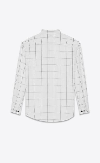 SAINT LAURENT Casual Shirts U oversized plaid point collar shirt in stonewashed white and black cotton b_V4