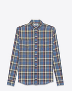 SAINT LAURENT Camicie Casual U camicia rinse in tartan con collo stretto blu in cotone f