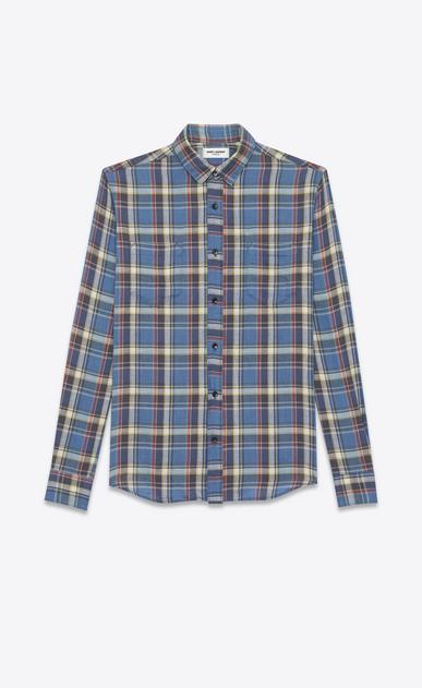 SAINT LAURENT Casual Shirts U rinse plaid narrow collar shirt in blue cotton a_V4
