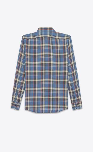 SAINT LAURENT Casual Shirts U rinse plaid narrow collar shirt in blue cotton b_V4