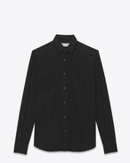 SAINT LAURENT Camicie Casual U camicia con collo stretto nera in denim stonewashed f
