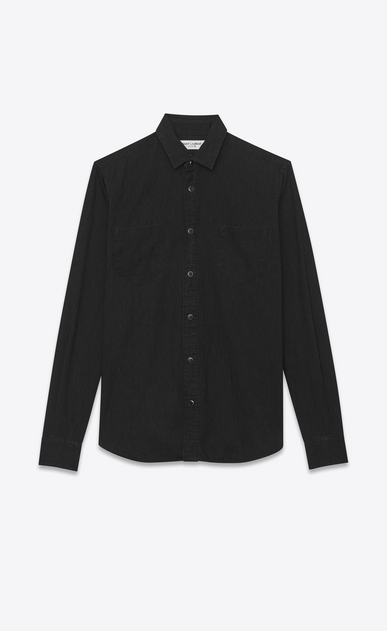 SAINT LAURENT Camicie Casual U camicia con collo stretto nera in denim stonewashed a_V4