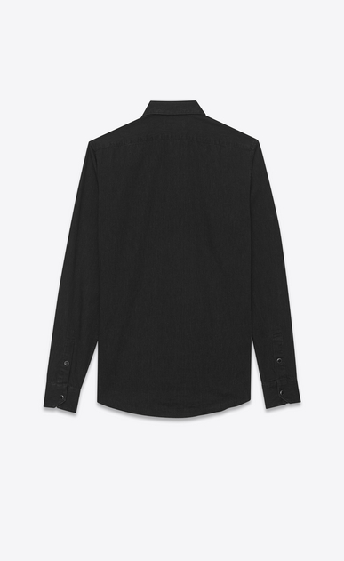 SAINT LAURENT Casual Shirts Man narrow collar shirt in stonewashed black denim b_V4