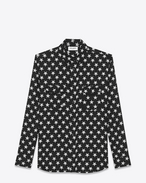 SAINT LAURENT Camicie Casual U Oversized Black and White Star Print Point Collar Shirt f
