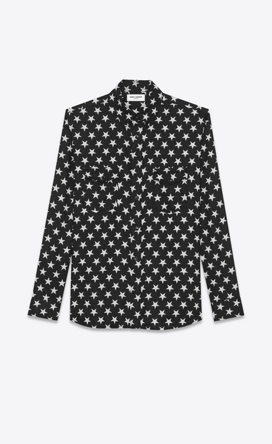 SAINT LAURENT Casual Shirts U oversized point collar shirt in black and white star printed cotton v4