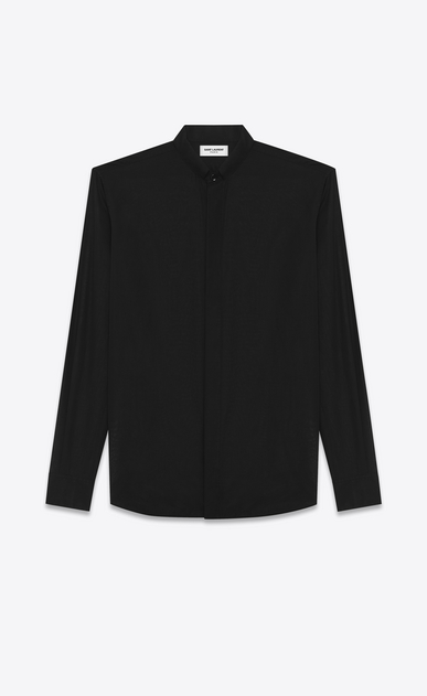 SAINT LAURENT Classic Shirts U replié collar shirt in black cotton voile a_V4
