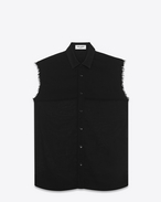 SAINT LAURENT Casual Shirts U sleeveless shirt in black virgin wool voile f